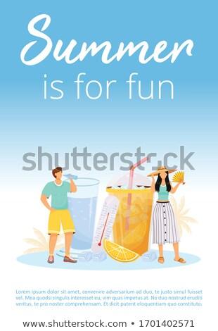 Koktélok poszter frissítő nyár italok hirdetés Stock fotó © robuart