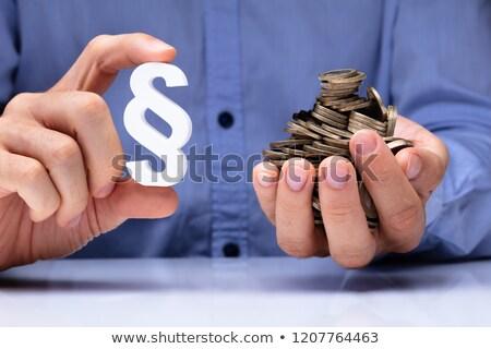 Pessoa parágrafo símbolo moedas Foto stock © AndreyPopov
