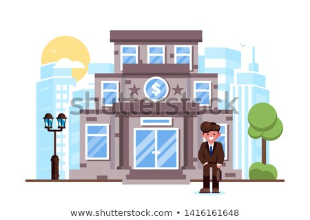 Businessman standing bank building facade exterior Stock photo © jossdiim