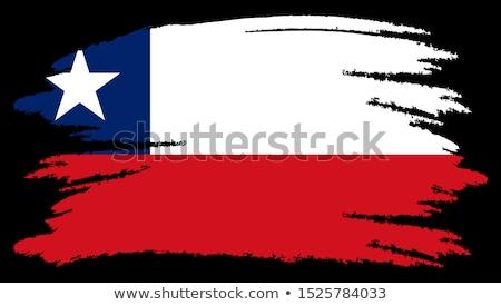 Dibujado a mano bandera Chile aislado blanco vector Foto stock © garumna