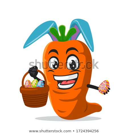 rabbit eating carrots closeup vector illustration stock photo © robuart