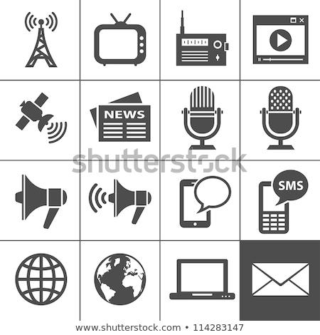Radyo ikon vektör uzun gölge web Stok fotoğraf © smoki