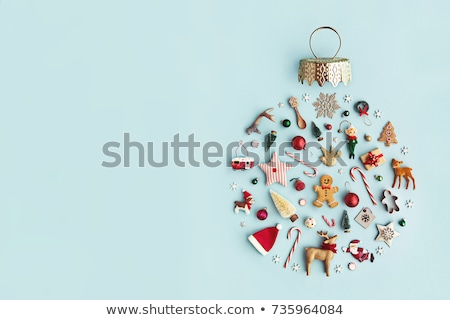 christmas gift candy canes and gingerbread man stock photo © karandaev