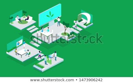 Terv munkaterület üzletemberek dolgozik modern iroda Stock fotó © RAStudio