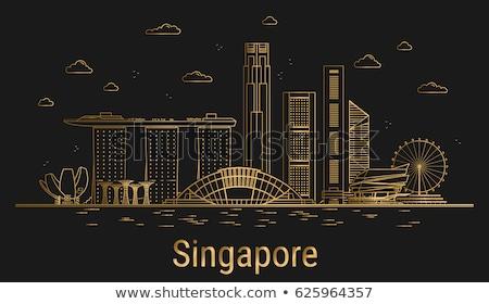 Ouro silhueta Cingapura preto viajar linha do horizonte Foto stock © Ray_of_Light