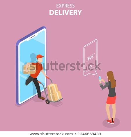 Isometric flat vector concept of express delivery, courier service. Stock photo © TarikVision