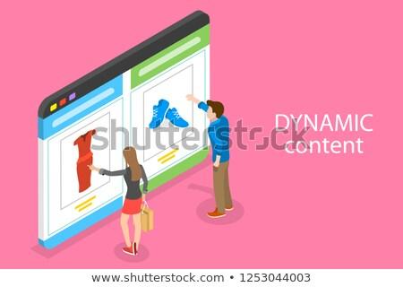 Isometric flat vector concept of behavioral digital marketing, dynamic content. Stock photo © TarikVision