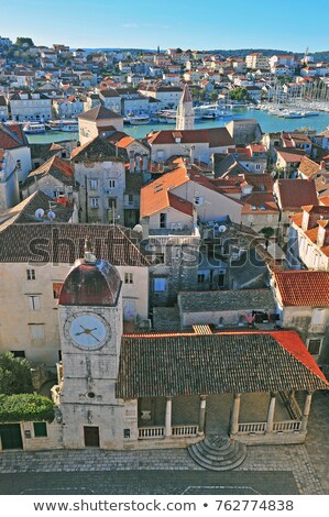 Landmarks and rooftops of Trogir aerial view Stock photo © xbrchx