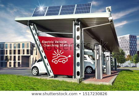 Elektrische auto stad illustratie weg gebouw stad Stockfoto © bluering