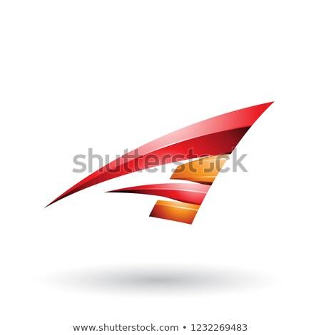 Rood · oranje · dynamisch · glanzend · vliegen · letter · l - stockfoto © cidepix