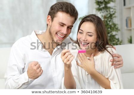 Foto stock: Feliz · animado · casal · positivo · teste · de · gravidez