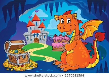 Dragon holding cake theme image 4 Stock photo © clairev
