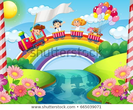 Stock photo: Children riding on train over rainbow