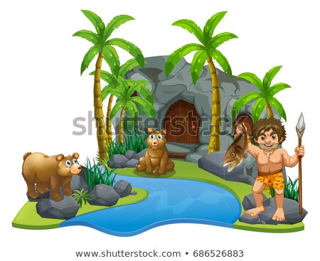 caveman and two bears by the river stock photo © colematt