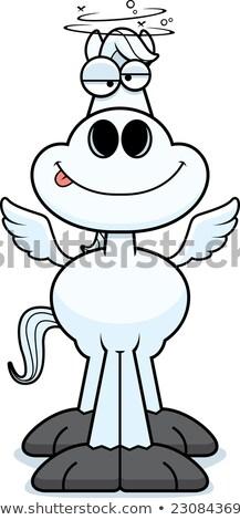 Bêbado desenho animado ilustração olhando feliz asas Foto stock © cthoman