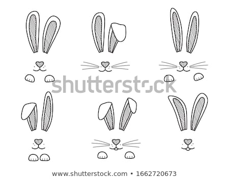 easter bunny and eggs head hand drawn outline doodle icon stock photo © rastudio