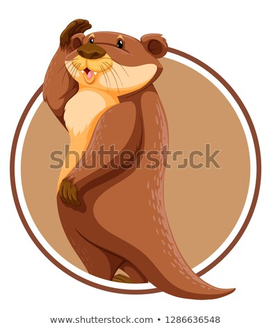 Otter in circle banner Stock photo © bluering