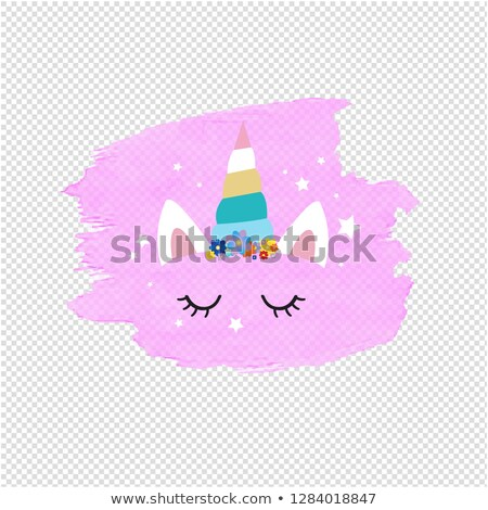 Cute Unicorn Face And Pink Blob Transparent Background Stock photo © cammep