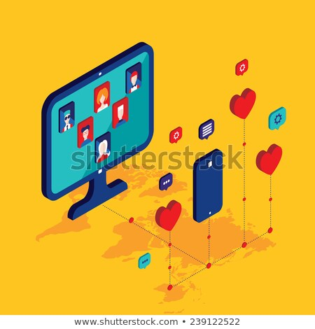 dating online   modern colorful isometric vector illustration stock photo © decorwithme
