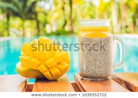 Mag puding mandula tej friss mangó Stock fotó © galitskaya