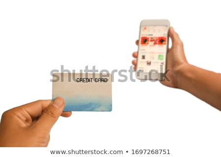 Stock foto: Weiblichen · Hände · halten · mobile · Bankkarte · schwarz