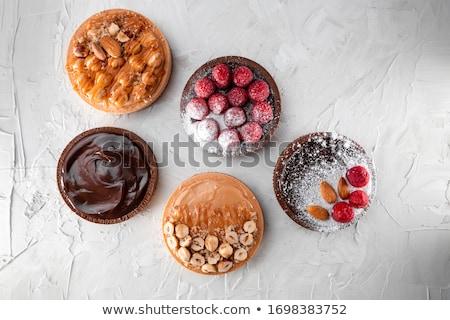 Dulce chocolate oscuro tarta frescos mesa de madera chocolate Foto stock © boggy