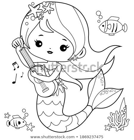 girl with guitar cartoon coloring page stock photo © izakowski