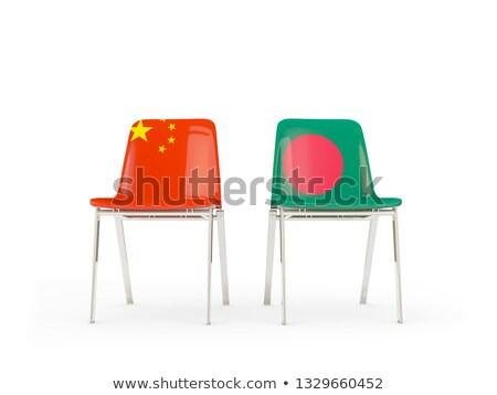 два стульев флагами Китай Бангладеш изолированный Сток-фото © MikhailMishchenko