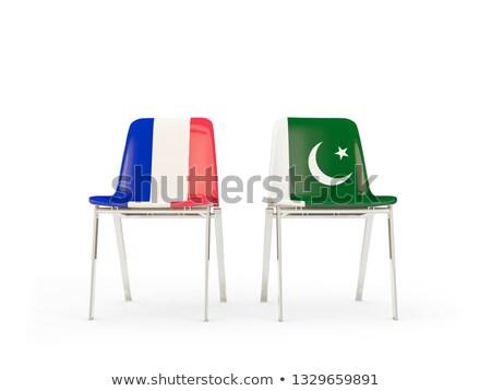 Twee stoelen vlaggen Frankrijk Pakistan geïsoleerd Stockfoto © MikhailMishchenko