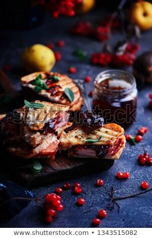 Ham cheddar sandwich selectieve aandacht kaas Stockfoto © zoryanchik