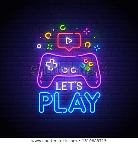 Oyun oynama neon dizayn imzalamak video Stok fotoğraf © Anna_leni