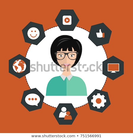 Woman presenting customer relationship management. System for managing interactions with current and Stock photo © makyzz