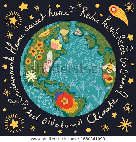 Earth Day illustration of eco friendly activities Stock photo © cienpies