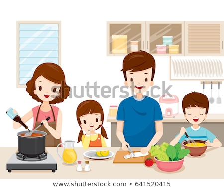 Mother and son cooking - cartoon people characters illustration Stock photo © Decorwithme