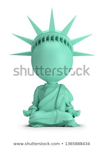 3D · biali · ludzie · medytacji · odizolowany · biały · obraz - zdjęcia stock © anatolym