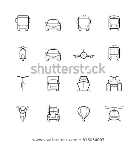 Vela yate icono frente vista blanco negro Foto stock © angelp