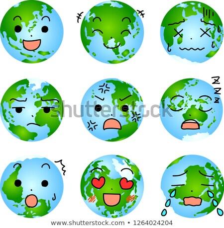 arckifejezés · Föld · karakter · ikon · kifejez · érzelmek - stock fotó © Blue_daemon