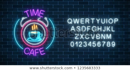 coffee  neon sign vector on brick wall background stock photo © balasoiu
