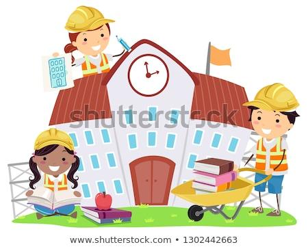 строительство · рабочие · работу · работник · силуэта - Сток-фото © lenm