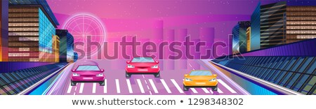Stock photo: Car racing night banner Vector. Road cars traffic jam. Flat styl