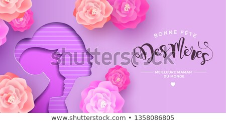 French Mothers Day card of papercut mom and kid Stock photo © cienpies
