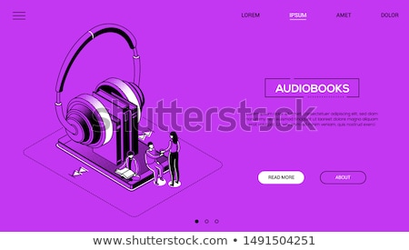 Stock photo: Audiobooks - Line Design Style Isometric Web Banner