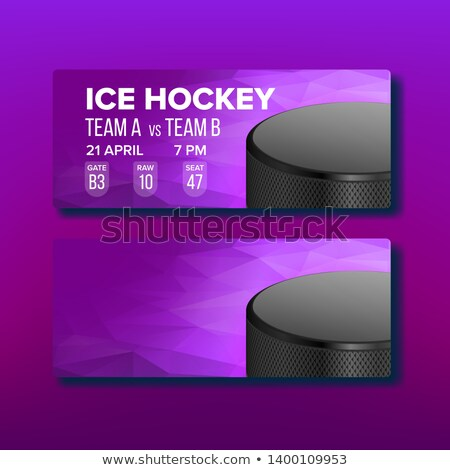 Purple Coupon On Hockey Sport Game Template Vector Stock photo © pikepicture