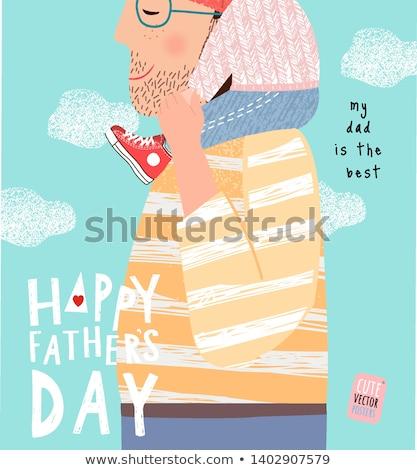 Mutlu babalar günü suluboya afiş adam mutlu tatil Stok fotoğraf © SArts