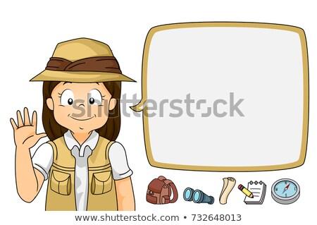 Nino nina explorador bocadillo ola ilustración Foto stock © lenm