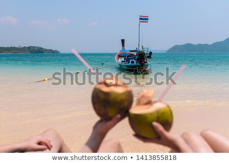 Couples main coco idyllique mer Photo stock © AndreyPopov