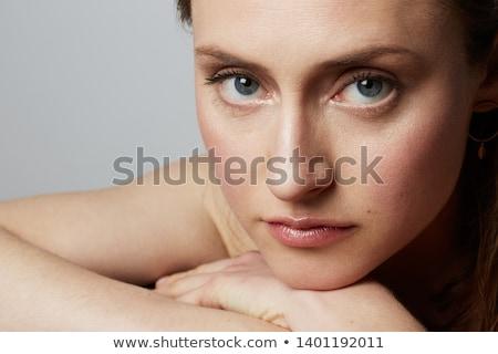 retrato · bela · mulher · isolado · bege · cabelos · cacheados · sensual - foto stock © deandrobot