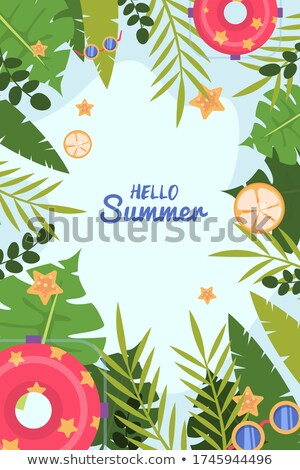 hello summer illustration with typography letter and tropical plants on ocean blue background vecto stock photo © articular