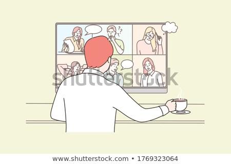 online · video · conferentie · vector · man · chat - stockfoto © robuart
