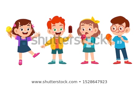 Cartoon fille manger cornet de crème glacée illustration enfant Photo stock © bennerdesign
